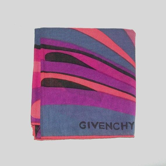 Vintage 80s Givenchy Pink and Purple Designer Scarf