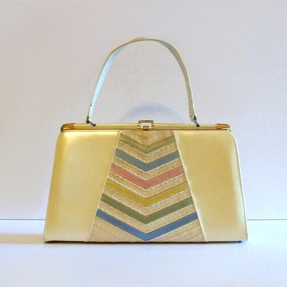 1950s handbag / vintage 50s purse / Pastel Candy Striped Ivory Kelly Handbag