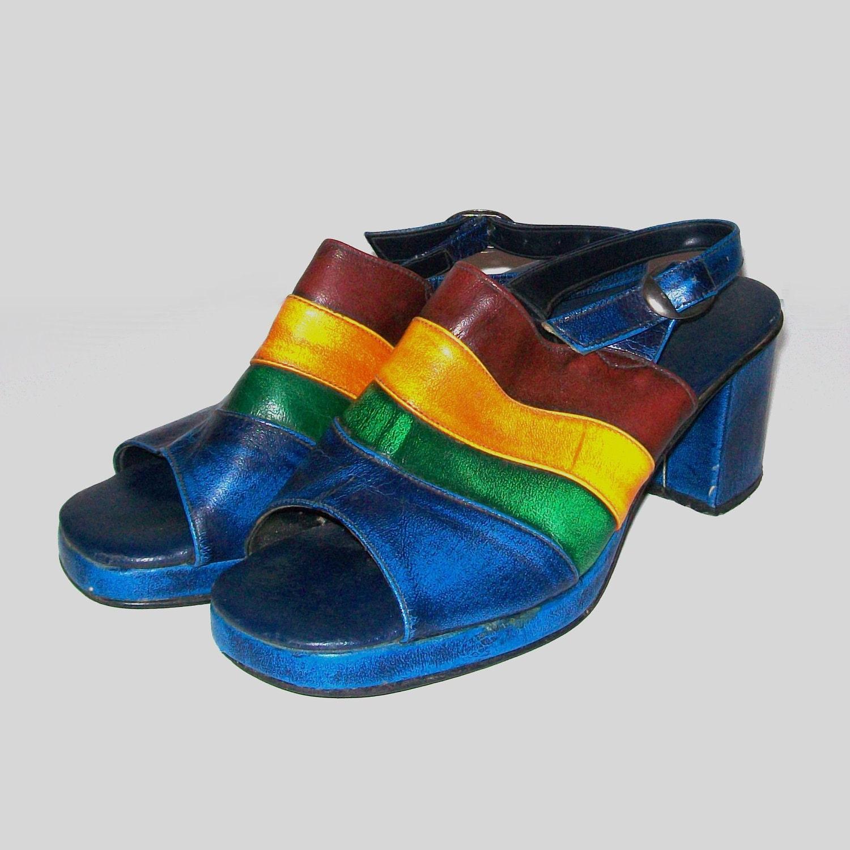 1960s shoes vintage 60s platforms sandals 8 rainbow