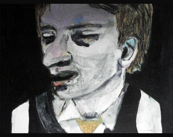 outsider EMERY original painting  ' he meditates on his next move'