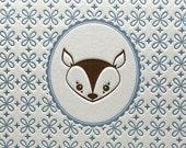 Deer Portrait 5 by 7 Inch Letterpress Print in Brown/Vintage Blue
