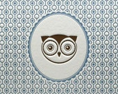 Letterpress Art Print Owl Portrait 5 by 7 Blue & Brown