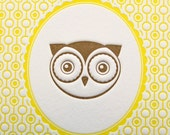 Letterpress Print Owl Portrait 5 by 7 Inch Brown/Yellow,