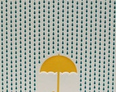 Rainy Day Letterpress Card in Blue and Yellow