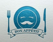 Letterpress Bon Appetit Note Card in Blue