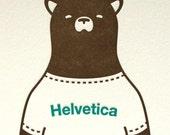 Letterpress Helvetica Bear Print, Brown and Teal