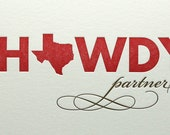 Howdy Partner Letterpress Card in Red and Brown