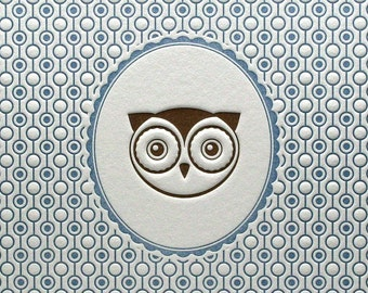 Letterpress Art Print Owl Portrait 5 by 7 Blue & Brown