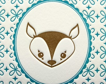 Letterpress Print Deer Portrait 5 by 7 Inch Brown & Aqua Turquoise
