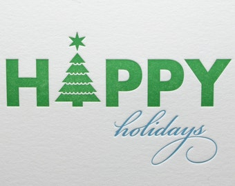 Letterpress Happy Holidays Card Christmas Green and Blue Tree Original