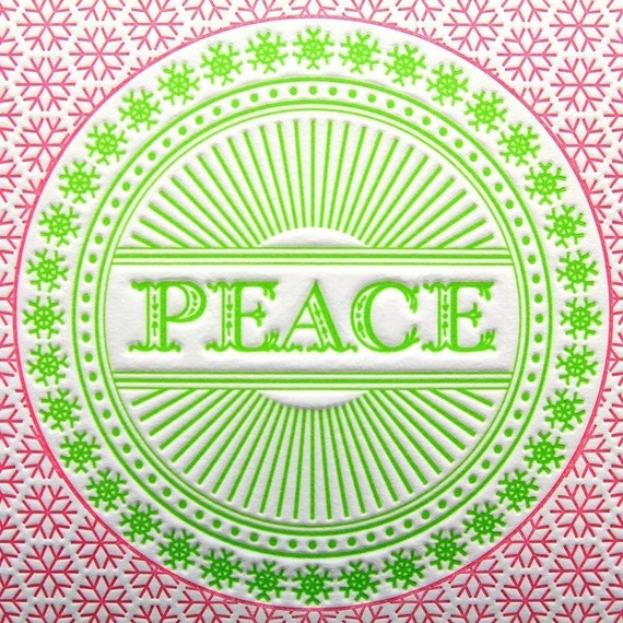 Set of 6 - Peace Snowflake Letterpress Cards in Green and Pink