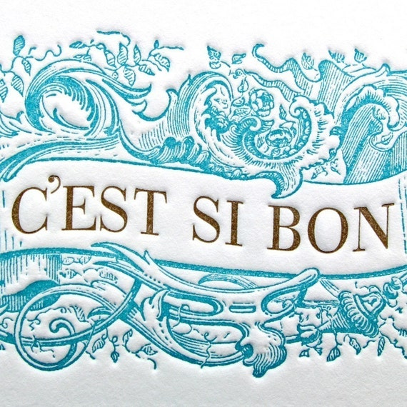 It's So Good - C'est Si Bon Greeting Card in Blue/Brown
