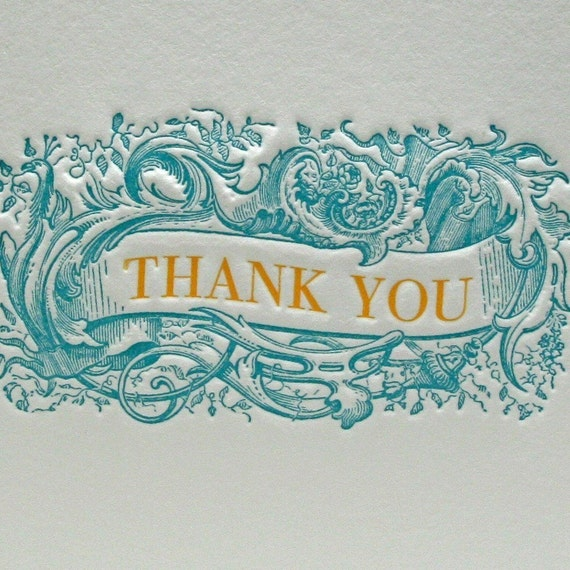 Thank You Note in Teal/Orange