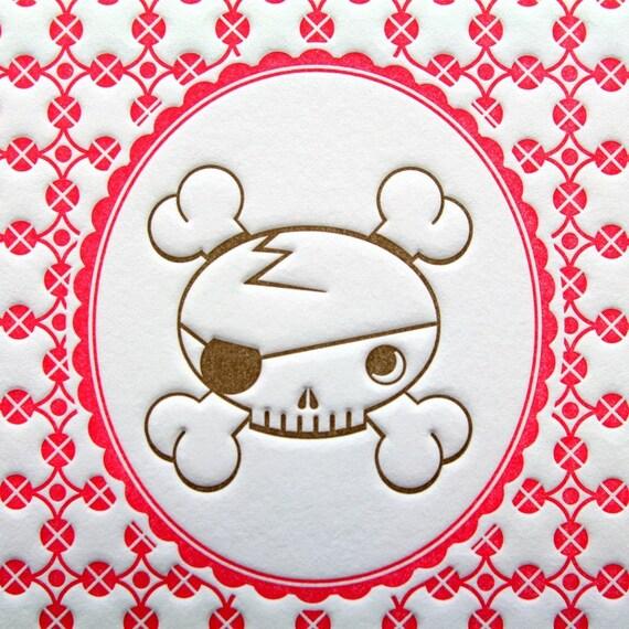 Print Letterpress Skull Portrait 5 by 7 Inch Magenta Brown Halloween Pink Original