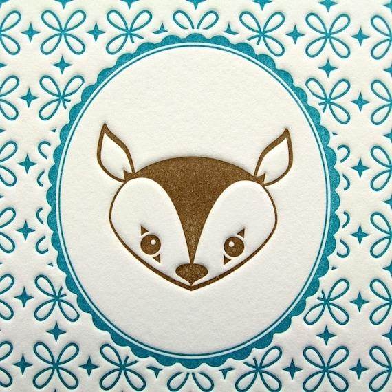 Letterpress Print Deer Portrait 5 by 7 Inch Brown & Aqua Turquoise