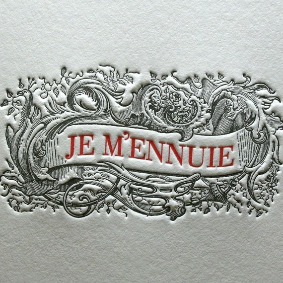 Anti-Valentine I'm Bored - Je M'ennuie Greeting Card in Black/Red