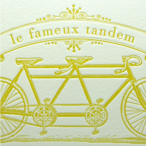 Tandem bicycle letterpress card in yellow