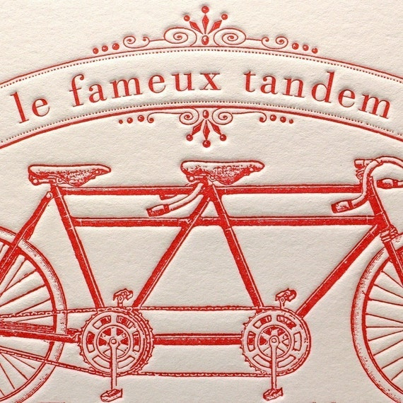 Letterpress card Bicycle Tandem Bike Built for Two in Red