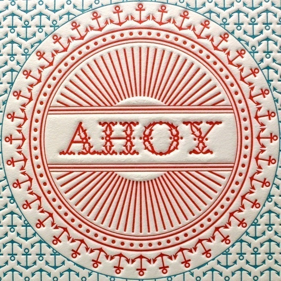 Ahoy There Letterpress Card