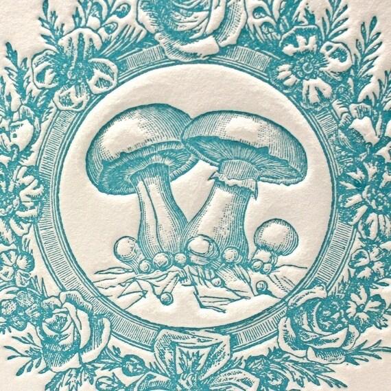 Vintage Mushroom in Blue