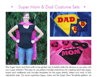 Super MOM and DAD Full costume set- PDF pattern