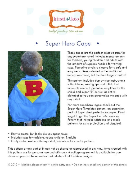 Super Hero Cape PDF Pattern and Templates