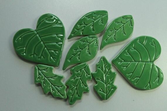Green Leaf Mix Mosaic tiles - ceramic tiles set of 8 pottery tiles - 3 leaf styles