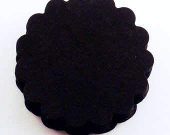 Two Inch Scalloped Paper Circles  Die Cut Scalloped Circles in  Jet Black Quantity 50