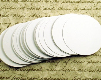 Two Inch Paper Die Cuts   2 inch  Circles  in  Snowy White Set of 50