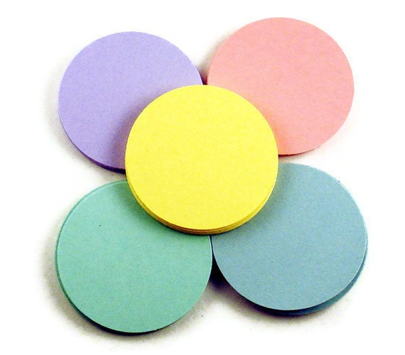 Two Inch Paper Die Cut  2 inch  Circles in   Pastel