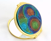 SALE Cyber Monday Free Shipping Compact Mirror in Peacock Polymer Clay (Gold)