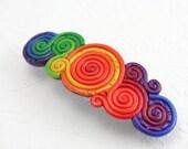 Rainbow Barrette in Polymer Clay Filigree