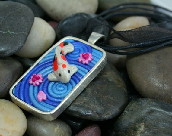 Koi necklace with cherry blossoms in polymer clay by for Ultimate koi clay