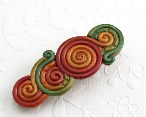 Autumn Colors Hair Clip in Polymer Clay Filigree