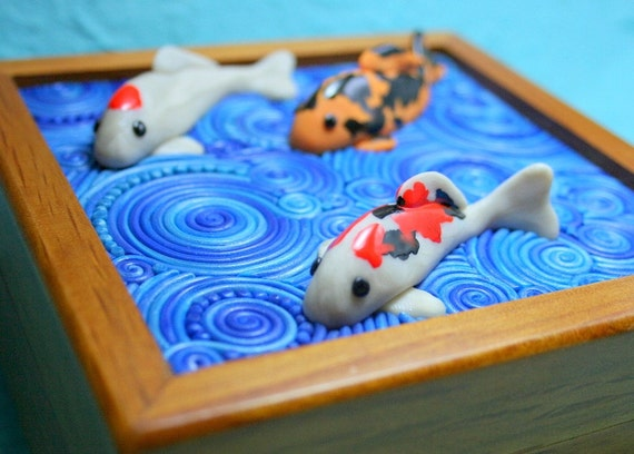 Playing koi 2 wooden jewelry box with polymer clay filigree for Playing koi