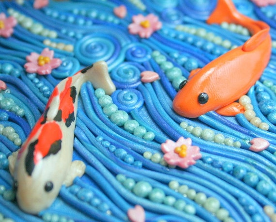 Playing koi 3 wooden jewelry box with polymer clay filigree for Clay fish pond