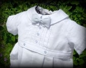 BOY Blessing / Christening/Baptism  Outfit with Lt. Blue Stitching/Bow Tie