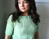 Vintage Knit Blouse in Mint Green