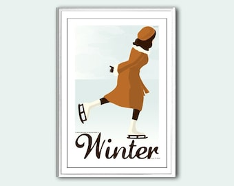 Poster Winter retro print in various sizes
