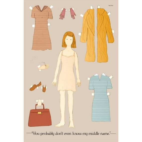 The Margot Tenenbaum paper doll 4x6 inches postcard