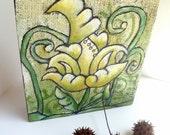 SALE Flower fantasy VIII artwork, acrylic original green fiber collage, marked down 50%, acrylic on burlap, floral home decor, collectible