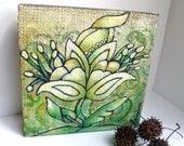 SALE Flower fantasy IX original art on cradled wood panel, marked down 50%, green, acrylic on burlap, home decor, collectible art