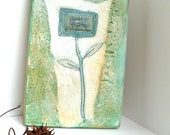 Mixed media original green floral artwork on recycled wood plank, VIGNETTE III, marked down 50%, home decor, collectible