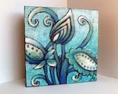 SALE Flower fantasy V artwork, original art, marked down 40%, blue, cradled wood panel, acrylic on burlap, home decor, floral