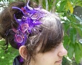 Wearable fiber art floral sash waistband headband, SOMETHING PURPLE III, fiber collage, wedding, bohemian, Coachella, hand stitched