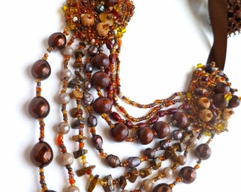 Wearable art brown necklace, ENCHANTING FALL V, multi strand necklace, bead embroidery, bohemian, Coachella, statement, romantic