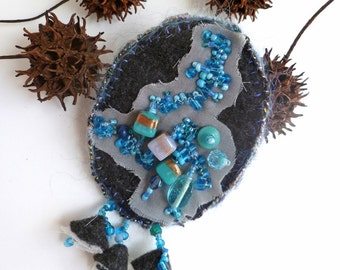 SALE Azure V pin, wearable fiber art blue bead embroidery pin, marked down 50%,  hand stitched, felt and beads