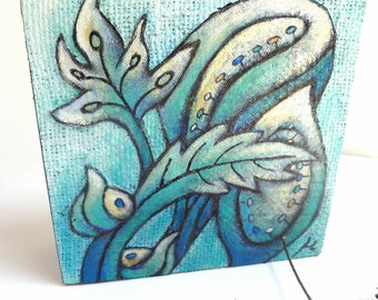 SALE Flower fantasy III artwork, original blue art fiber collage, marked down 40%, acrylic on burlap, abstract, home decor