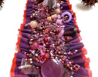 Purple dream III cuff, wearable fiber art cuff, ruffle, beaded, bohemian, romantic bracelet, hand stitched, Coachella, eco-friendly