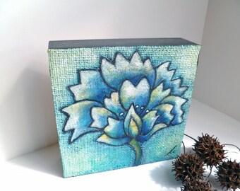 SALE Flower fantasy IV artwork, original floral art, acrylic, marked down 50%, home decor